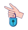 hand with security padlock vector image vector image