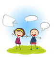 happy boy and girl with speech balloon vector image vector image