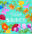 hello summer floral background with flowers vector image vector image