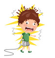 kid with electric shock vector image