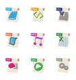 Kind of files icons set cartoon style vector image vector image