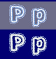 letter p on grey and blue background vector image