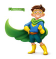 Little boy in superhero costume with green coats