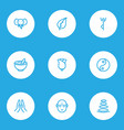 meditation icons line style set with elephant vector image