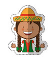 mexican little girl character vector image vector image