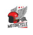 motorcycle racing helmet vintage icon vector image vector image