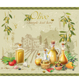 Olive oil and olives against country landscape vector image vector image