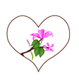 Pink Hibiscus Flowers in Heart Shape Frame vector image vector image