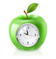 realistic green apple clock on white vector image vector image