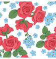 red roses and myosotis flowers on white background vector image
