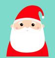 santa claus face head icon merry christmas new vector image vector image