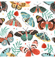 seamless pattern with gorgeous butterflies vector image