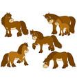 set cute cartoon horses vector image vector image