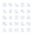 set line icons of 3d cars printing vector image