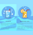 set of ice water and refreshing juice posters vector image vector image