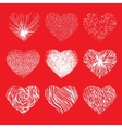 set of scribbled hand drawn hearts for vector image vector image