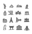 set of travel landmarks icon set vector image vector image