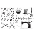 sewing machine hobby scissors vintage set vector image