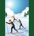 skiers in the winter vector image vector image