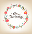 Thanksgiving florals wreath Colors Textures and vector image vector image