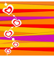 valentine card on stripped background vector image vector image