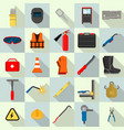 welder equipment tools icons set flat style vector image
