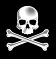 White shaded skull and crossbones 3D icon vector image vector image