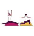 women practicing yoga on mat vector image