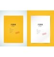 Yellow folder blank Blank paper form and text vector image vector image