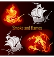 Smoke and flames dark background vector image