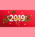 2019 new year banner with gold christmas bow vector image vector image
