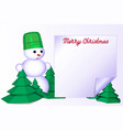 3 merry christmas greeting card with snowman on vector image vector image