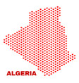 algeria map - mosaic of valentine hearts vector image vector image