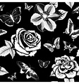 Black and White Seamless Pattern with Flowers and vector image vector image