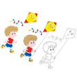 Boy with a kite vector image vector image