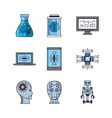 bundle artificial intelligence icons vector image vector image