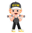 cartoon a man exercising with dumbbells vector image