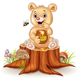 Cartoon funny baby bear holding honey pot vector image vector image
