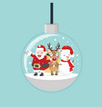 christmas ball with santa and friends vector image vector image