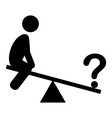 confusion man on swing people with question mark vector image vector image