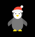 cute penguin and santa hat merry christmas icon vector image