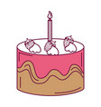 delicious cake with candles celebration icon vector image