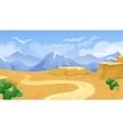 Desert With Road And Cactuses vector image vector image