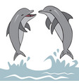 dolphins jumped out of water vector image vector image