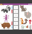 educational game with large and small animal vector image