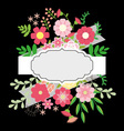 Flowers and leaves with ribbon vector image vector image