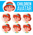 girl avatar set kid kindergarten face vector image vector image