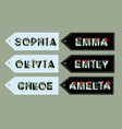 girls names from font with flowers vector image vector image