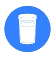 Glass of milk icon in black style isolated on vector image
