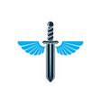 graphic of sword created with bird wings battle vector image